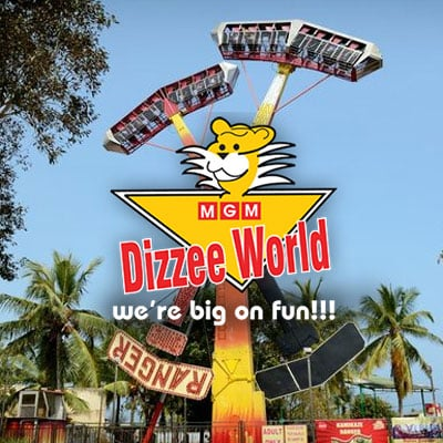 MGM Dizzee World is a theme park located in Chennai, Tamil Nadu, India. It is located in East Coast Road. The park has log flume, Ferris wheel, spider spin, roller coaster, the funny mountain, dashing cars, super trooper, a water world.  MGM Dizzee World has many firsts